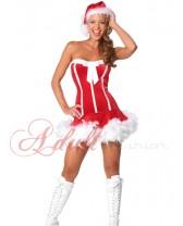 Sexy vánoční kostým red s pírky
